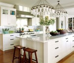 white kitchen with marble counter from Jeff Andrews via Trad Home