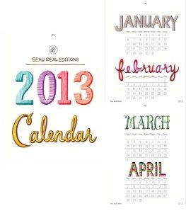 2013 calendar print