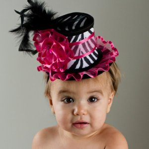 hot pink and zebra baby fascinator