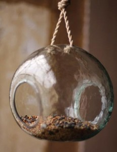 at west end round recycled glass bird feeder