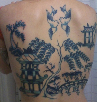 blue willow back tatoo
