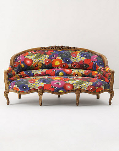 anthro's blazing poppies couch