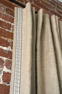 burlap drapes with greek key trim