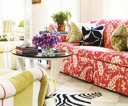 red floral two tone couch