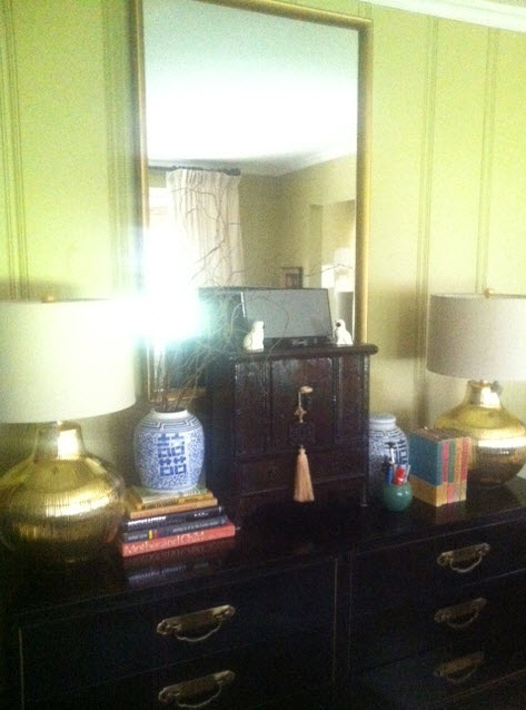 black dresser in living room
