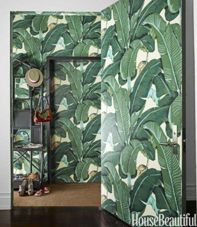 Martinique Banana Leaf wallpaper walls and door