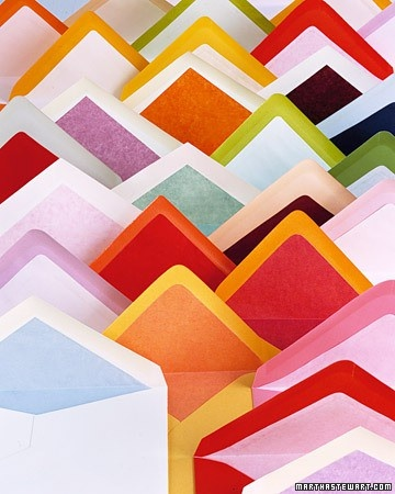 rainbow of lined envelopes