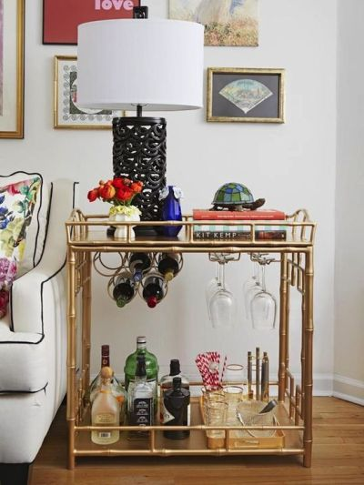 bar cart by couch