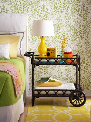 car cart as bedroom side table